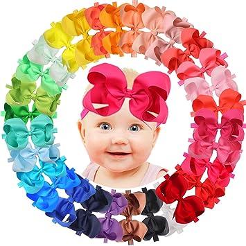 b31f1e606 Amazon.com   JoYoYo 30 Colors 6 inch Hair Bows Baby Girls headbands ...
