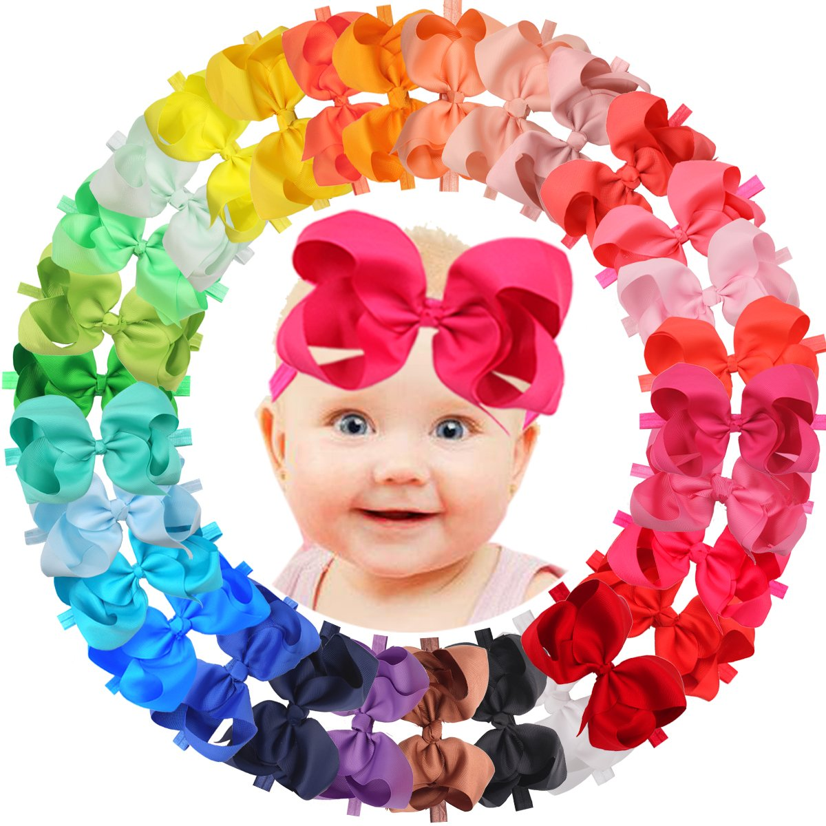 Amazon Com 20pcs Baby Girls Headbands With 4 Quot Hair Bows