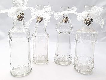Treasured Memory 4x Glasvasen Vasen Spitze Glas Herz Kommunion