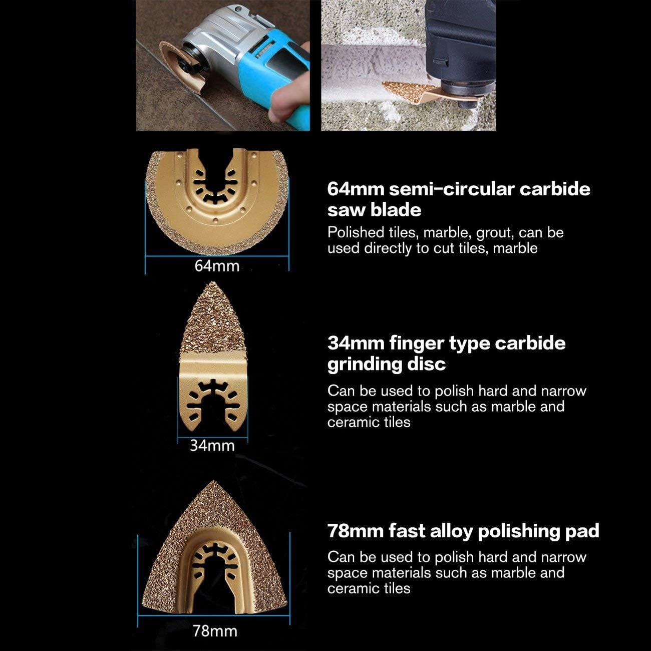 Herramienta oscilante de corte de metal de carburo de diamante de m/últiples funciones de la herramienta oscilante para cer/ámica Porcelin Azulejo herramienta de corte de metal oro