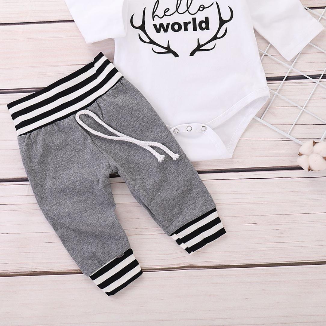 Striped Pants kaiCran Infant Baby Girls Boys Letter Print Long Sleeve Romper Jumpsuit Hat Autumn Outfits Set