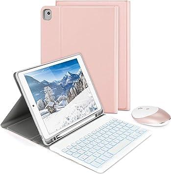 Funda para teclado con ratón inalámbrico para iPad 10.2 2019/iPad Air 3/iPad Pro 10.5 2017, Jelly Comb teclado retroiluminado Bluetooth QWERTY UK ...