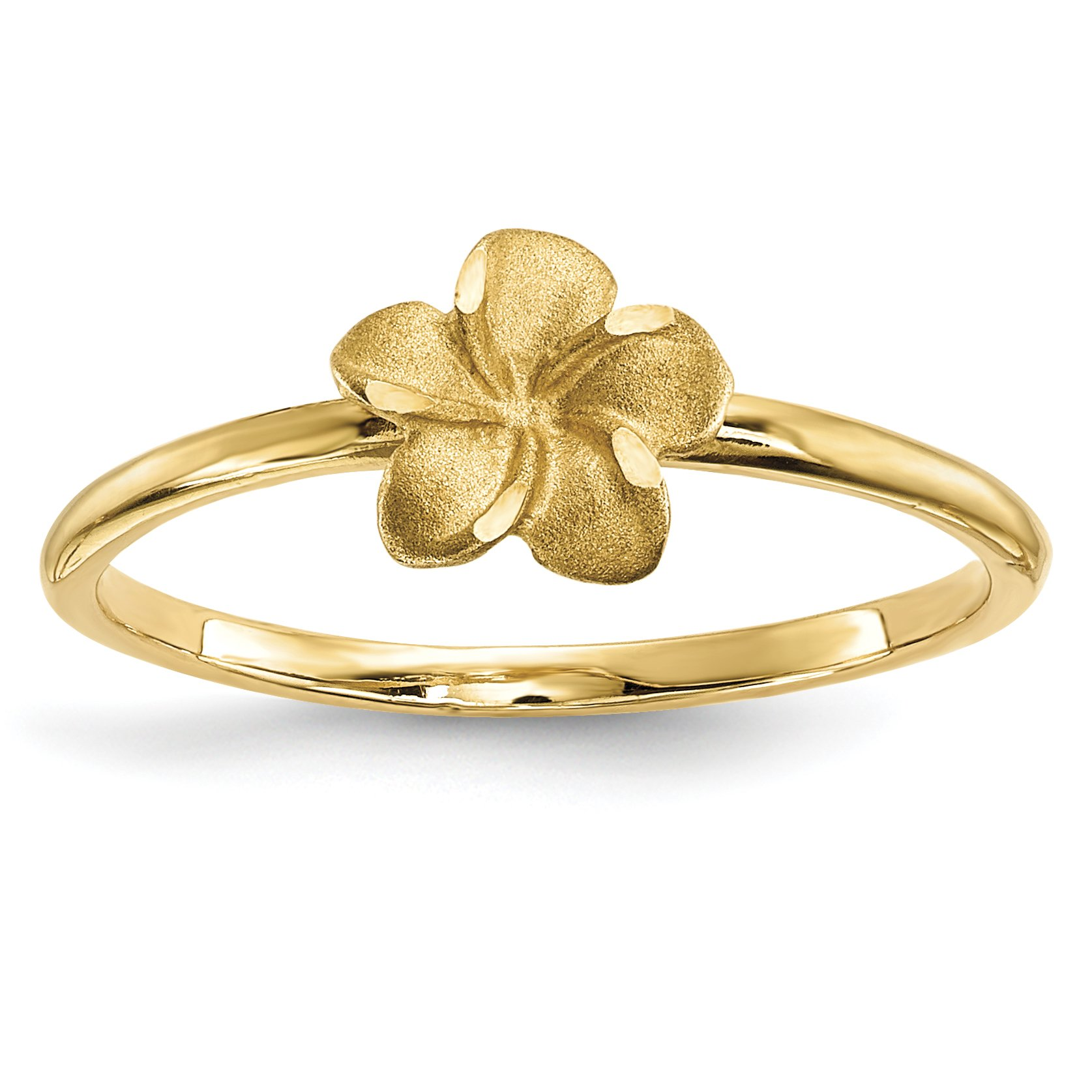 ICE CARATS 14k Yellow Gold Plumeria Band Ring Size 7.00 Flowers/leaf Fine Jewelry Gift Set For Women Heart