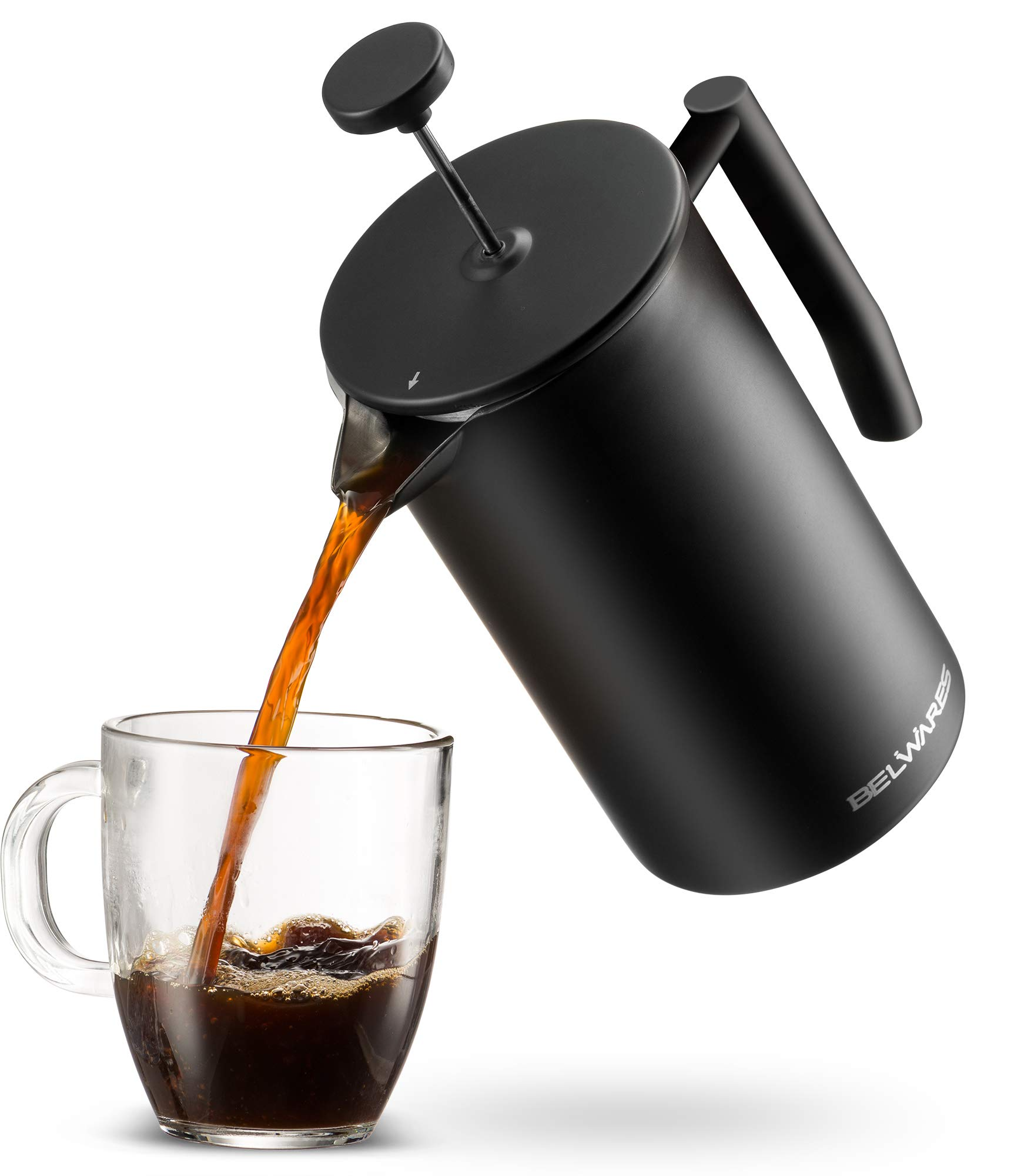 French Press Coffee Maker with Extra Filters for a Richer and Fuller Coffee Flavor, Designed with Double Wall Black Stainless Steel to Preserve Hot Coffee Temperature (34oz)