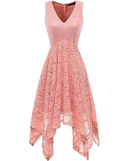 f45eb3eee2a Bridesmay Women s Elegant V-Neck Sleeveless Asymmetrical Handkerchief Hem Floral  Lace Cocktail Party Dress