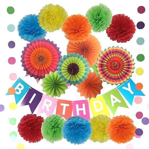 Pancarta con pompones de papel de seda para decoración de cumpleaños, flores de papel, abanicos de papel y guirnaldas, 10 pompones y 6 abanicos de ...