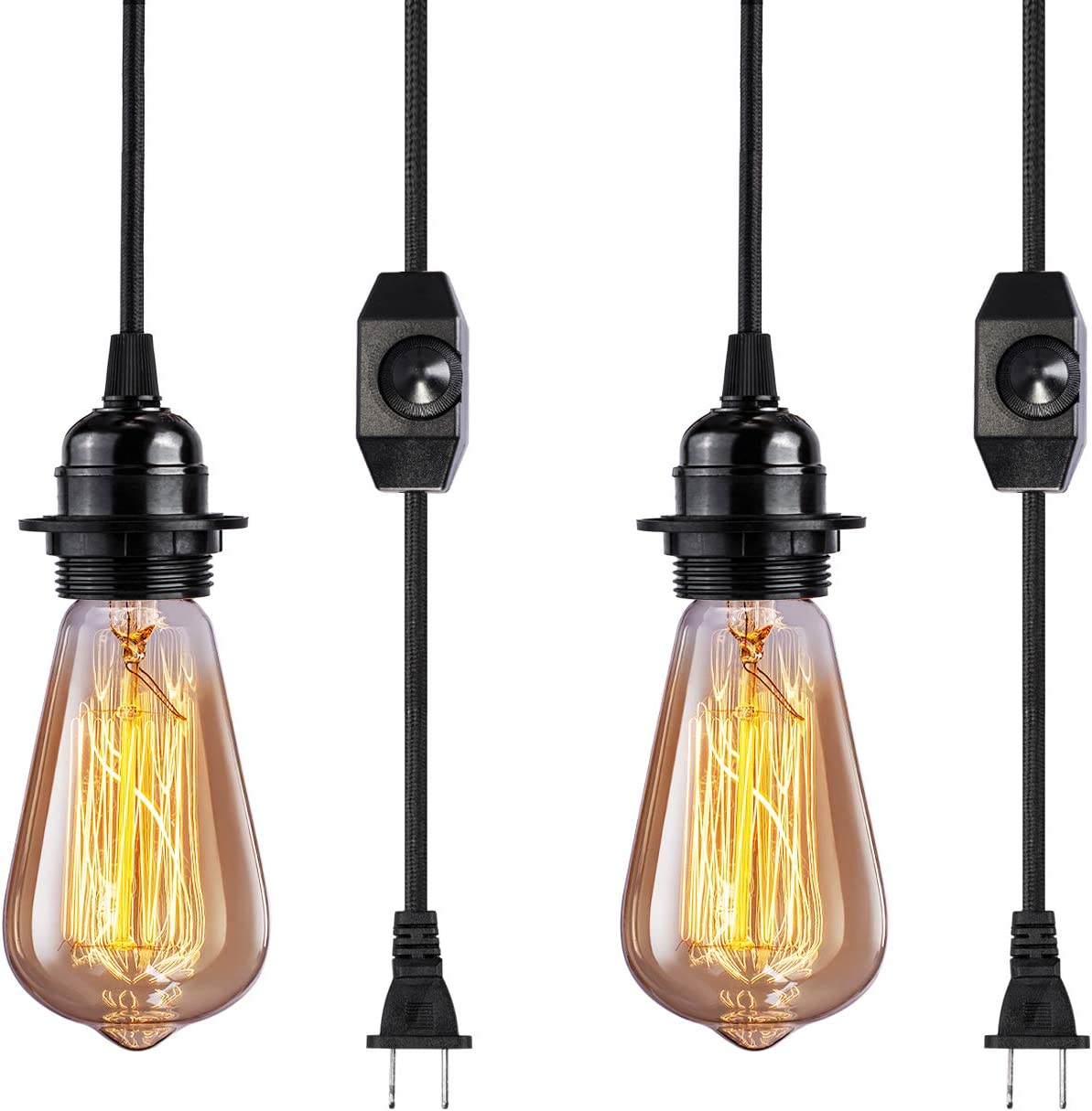 Vintage Plug in Hanging Light Kit, Elibbren Industrial Style Pendant Lighting E26 E27 Lamp Socket 12.14FT Twisted Textile Black Cord with Dimmable On Off Switch Plug in Lamp Fixture 2 Pack
