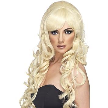 Blonde peluca de pelo largo para mujer de la peluca de la peluca rizos Hollywood Diva
