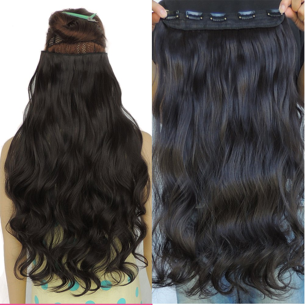 Curly Hair Extensions 5 Clip in Hair Extension 24inch Copper Silky Synthetic Hairpieces Wonderful WJJ12070