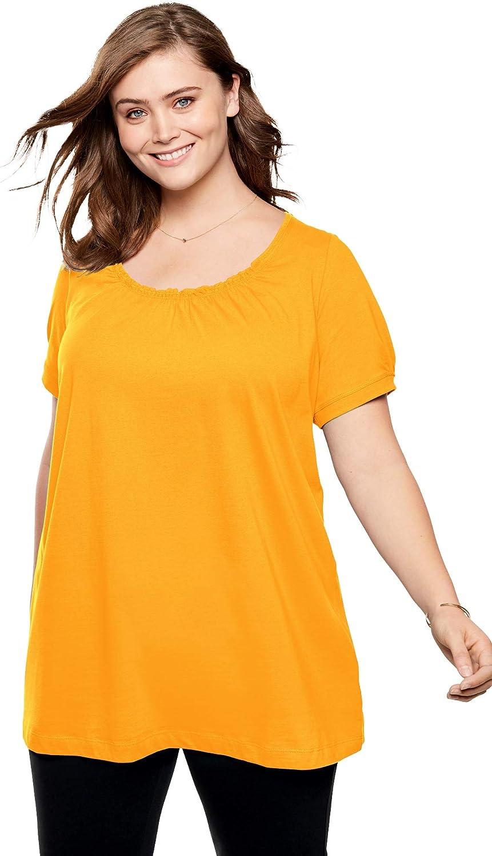 Woman Within Womens Plus Size Perfect Shirred U-Neck Tunic
