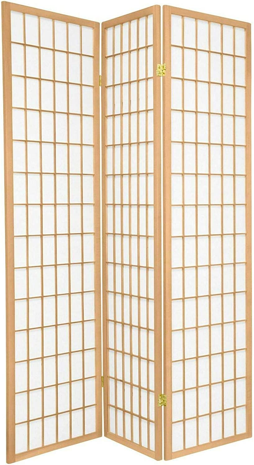 Legacy Decor Japanese Oriental Style Room Screen Divider, 3 Panels, Natural Color