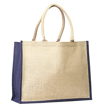 eea72309f16 Image Unavailable. Image not available for. Color: Pack 6 - Jute Burlap  tote bag with Cotton Webbed handles ...