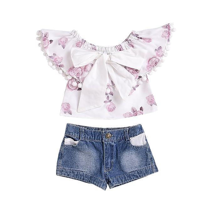 Amazon.com: mekilyn 2pcs bebé niñas volantes Floral borlas ...