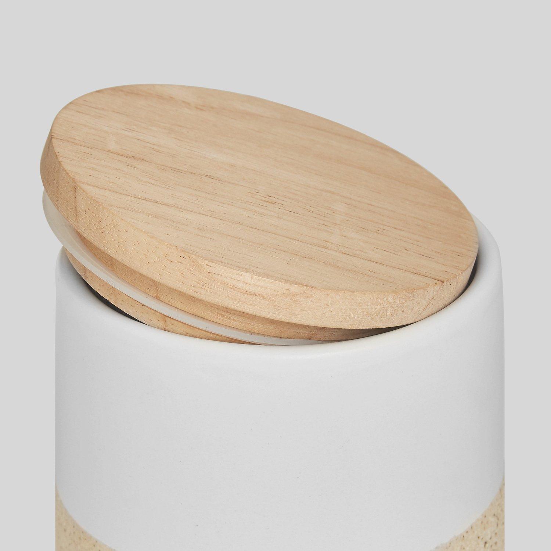 Botes de cerámica con tapa de madera Soft Sand | Tapa hermética de madera de caucho | Recipientes de 400 ml a 1 litro de capacidad | Altura de 9,3 a 18,3 ...