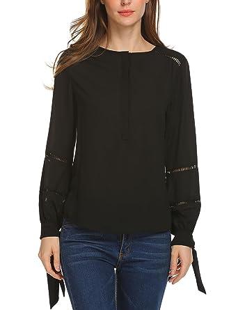 01944e008 Zeagoo Women's Long Tie Sleeve Loose Casual Chiffon Blouse Black Top Shirts  S
