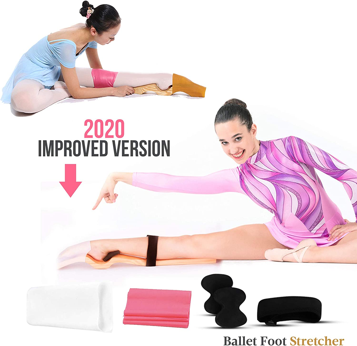Ballet Foot Stretcher Set by Geenyous - 2020 New Improved Ballet Foot Stretcher for Dancers, Fine Pine Wood Foot Arch Enhancer, Elastic Stretch Band, Pad, and Leg Strap