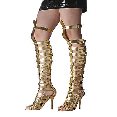 Ladies Black Zip Up Gladiator Knee Calf High Heeled Sandals Shoe Boots Sizes