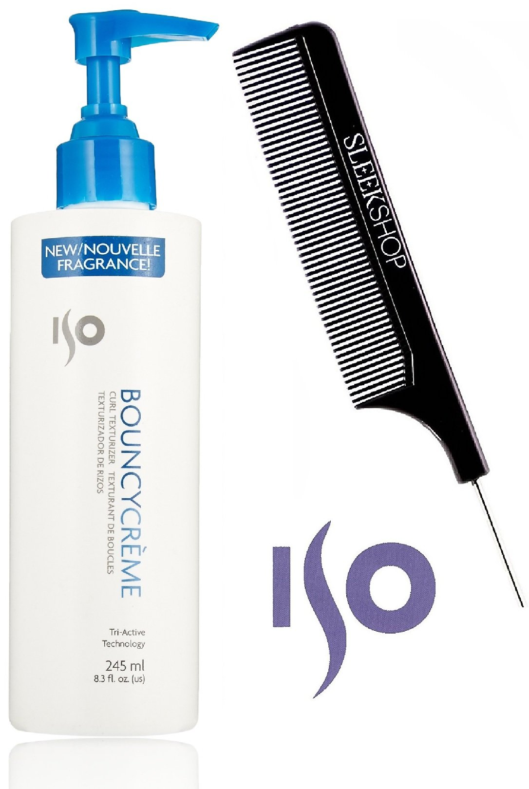 ISO Bouncy Creme CURL TEXTURIZER Curling Cream (with Sleek Steel Pin Tail Comb) (8.5 oz / 250 ml - with PUMP)