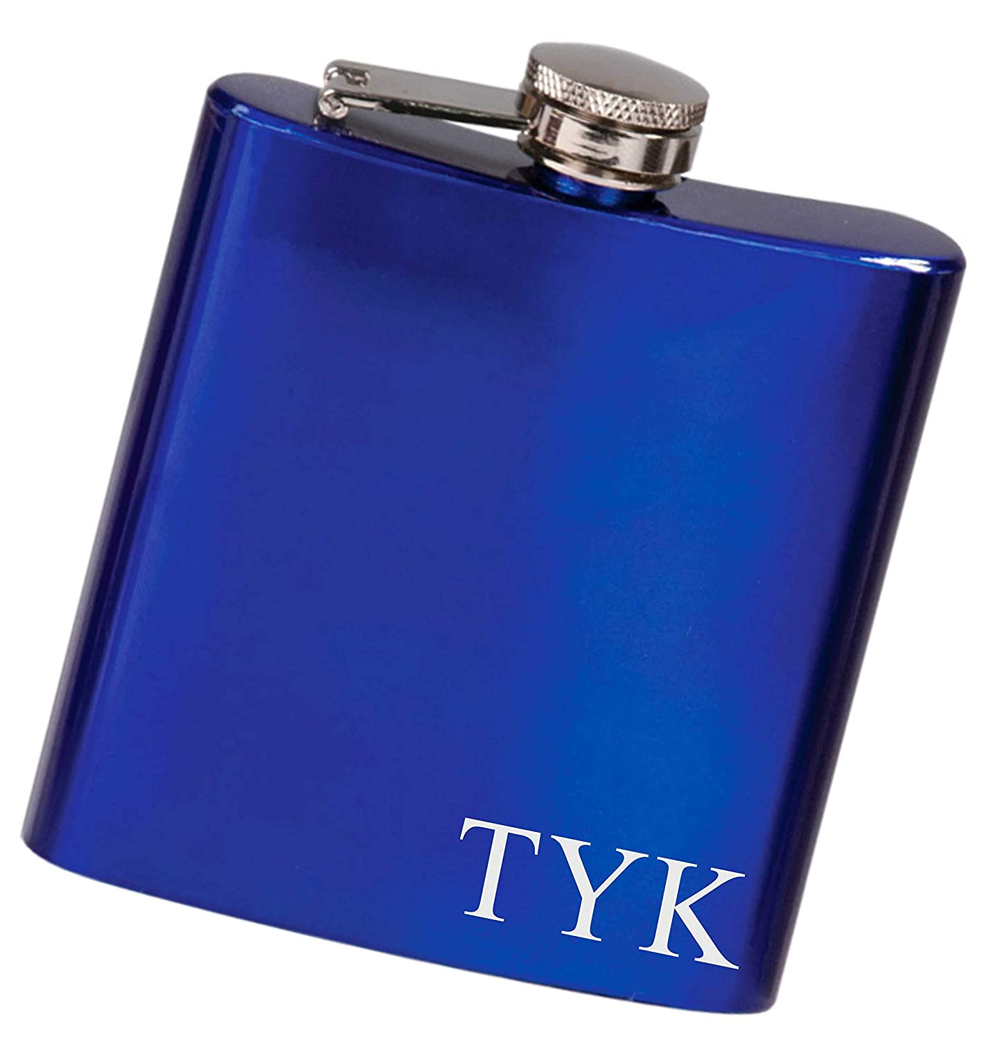Custom Initials Flask, Engraved Stainless Steel Flask in Your Choice of Colors, 6 oz - F27