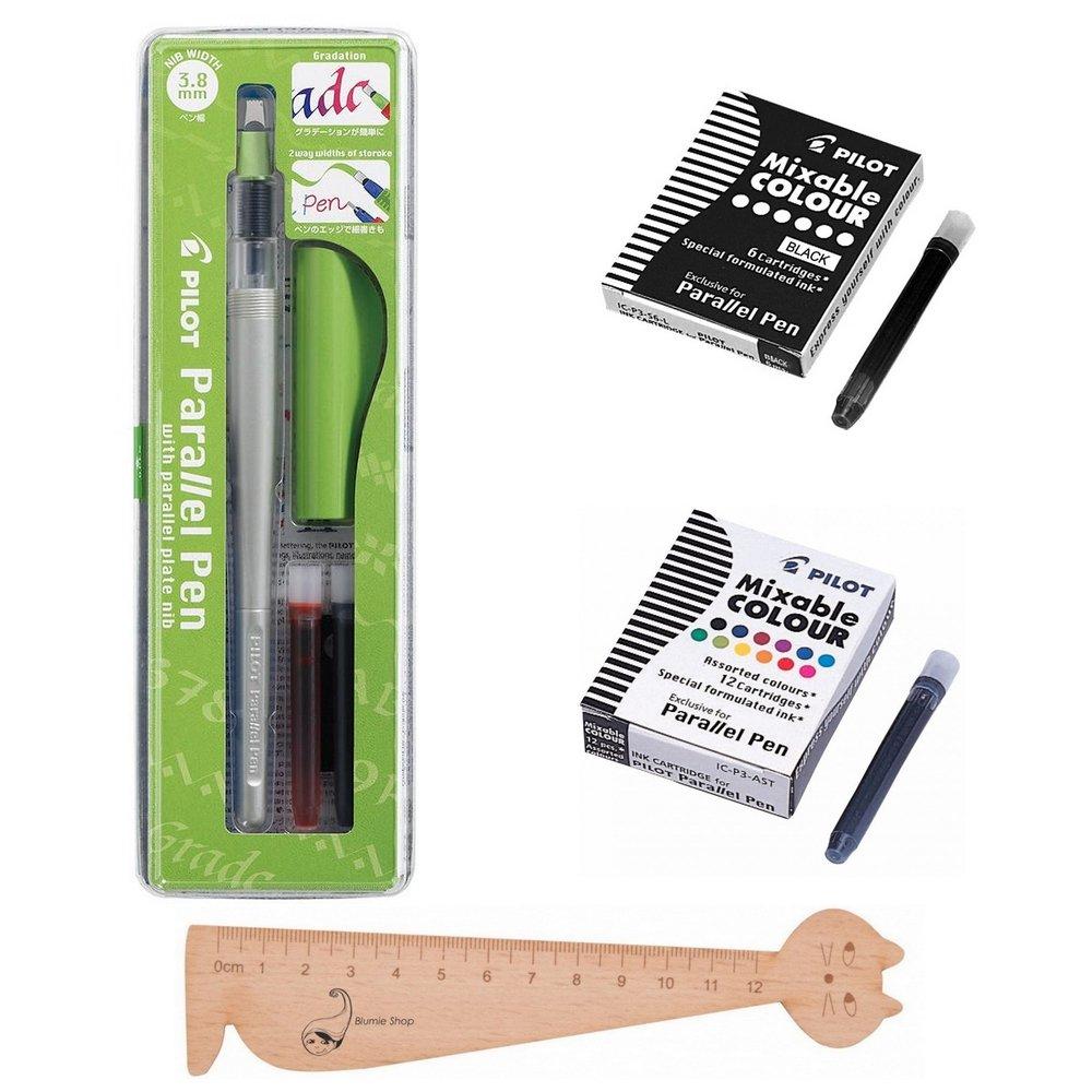 Set Pilot Parallel Pen 3, 8mm + 1confezione da 12cartucce d' inchiostro colori assortiti + 1confezione 6cartucce nere + 1righello segnalibro in legno blumie Blumie Shop