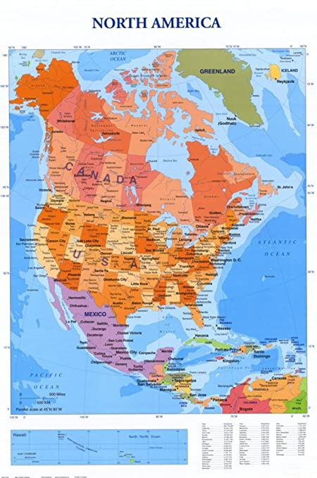 Amazon.com: Map of North America Poster 24 x 36in: Prints: Posters ...