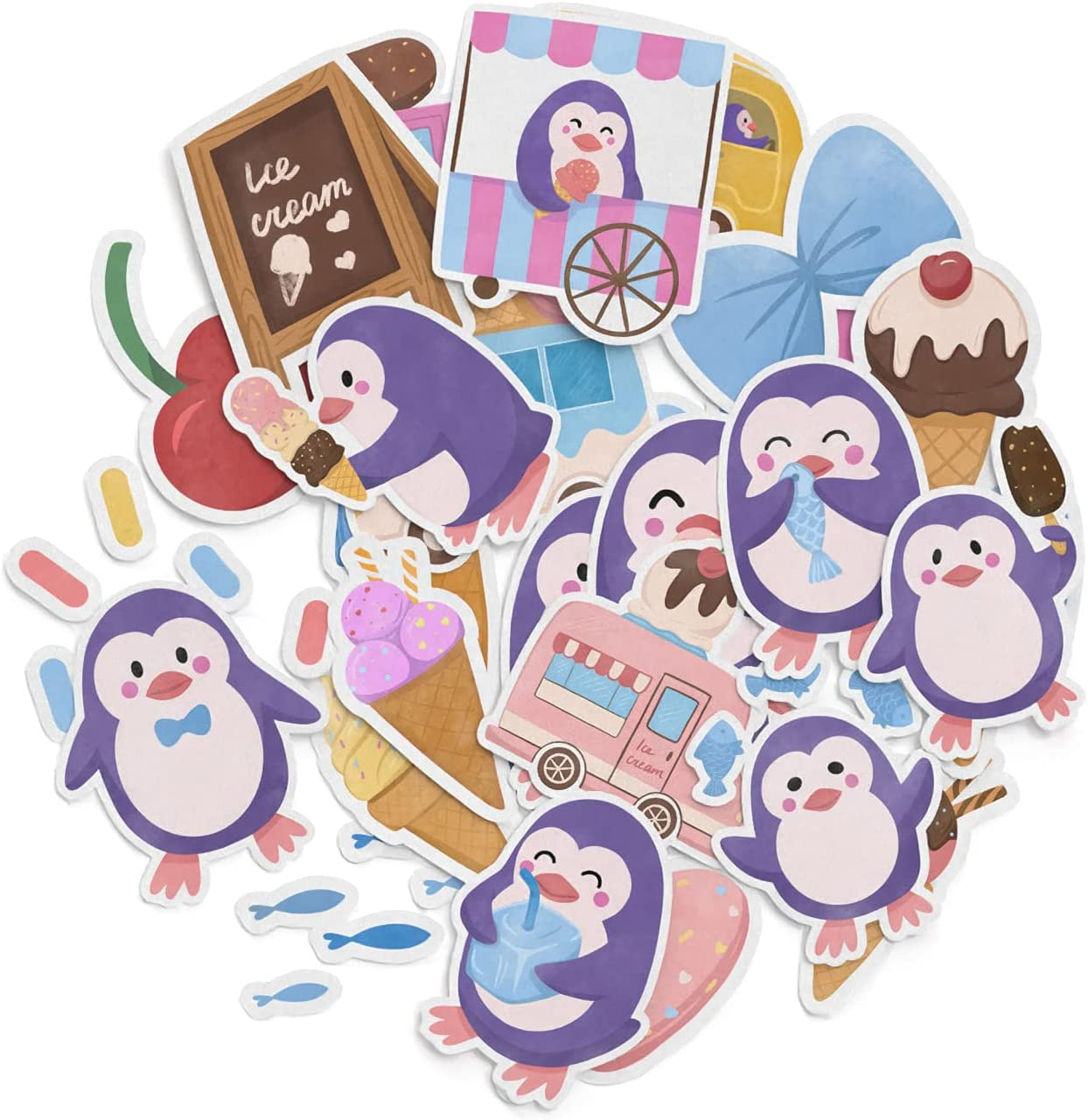 Mertak - 30 PCS - Sticker Pack for Laptop Decals Vinyl Kawaii Ice-Cream Truck Waterproof Stationery Cartoon Penguin for Notebook Cute for Car for Planner Set for Water Bottle for Kids Food