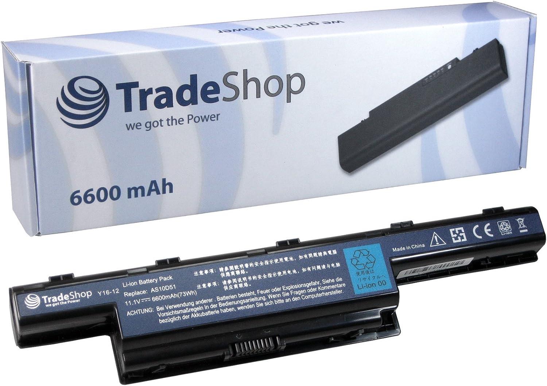 Trade-Shop–Batería de portátil (10,8/11,1V, 6600mAh para Acer Aspire 57505750G 7551G 75517551, reemplaza a AS10D51LC. BTP00.123AS10G3E AK.006BT.075AS10D73AK.006BT.080