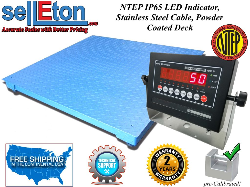 Selleton Floor Scale 48''X48'' (4'X4') Ntep Legal for Trade 5000 X 1 Lb/Indicator by Selleton