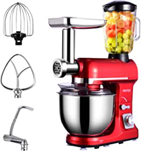 Frifer 3 in 1 Electric Stand Mixer, 6 Speed Kitchen Food Standing Mixer, 500W Tilt Head Kitchen Mixer with 5QT Stainless Steel Bowl, Hook, Whisk, Beater, Meat Grinder, Noodles Mixer, Juice Blender
