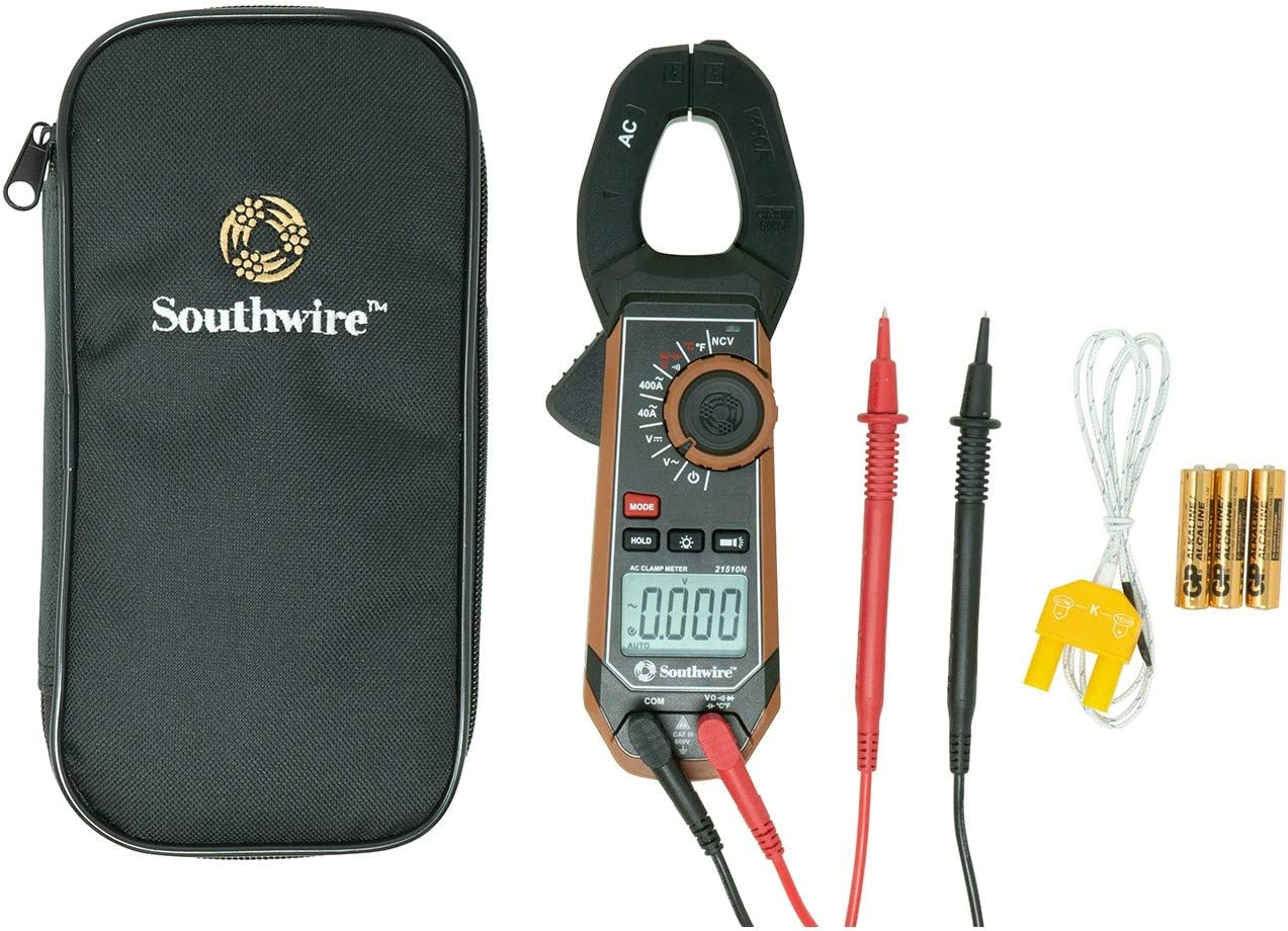 Southwire Tools Equipment 21510N clamp meter, third-hand test probe holder, 400A AC current range, CAT III 600V safety rating, built-in non-contact voltage detector, 5 year warranty, Black Brown