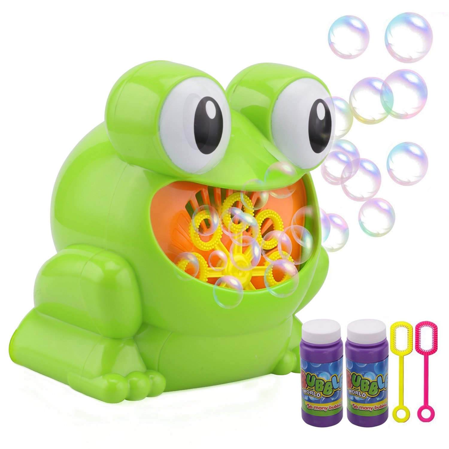Rely2016 Frog Bubble Machine, Automatic Animal Bubble Blower Machine Indoor Outdoor Games for Kids with 2 Bottles Bubble Solution, More Than 500 Bubbles Per Minute for Party and Gift