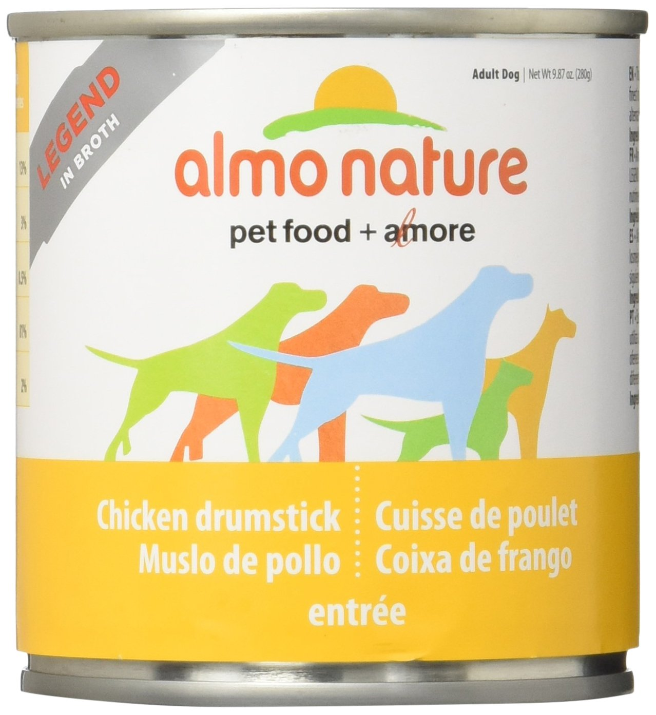 Almo 9.87 Oz Legend Chicken Drumsticks Canned Dog Food 12 Case , Medium
