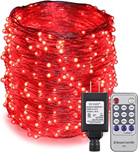 ErChen Adapter Powered Led Starry String Lights, 165FT 50M 500 Led Plug in Dimmable Remote Control Silver Copper Wire Fairy Lights for Wedding Christmas Party Home Decor (Red)