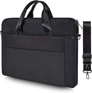 15.6 Inch Laptop Shoulder Bag for Acer Aspire 5/Acer Chromebook 15/Aspire E 15, Asus Chromebook/Vivobook 15, HP Envy x360/HP Pavilion x360 15.6/HP Chromebook 15, MSI GF63 Notebook Computer Case(Black)