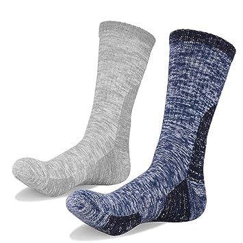 YUEDGE 2 Pares Hombres Calcetines de Senderismo Trekking Anti ampollas Respirables Corriendo Calcetines Deportivos, Alto Rendimiento (L, Azul Oscuro/Gris ...