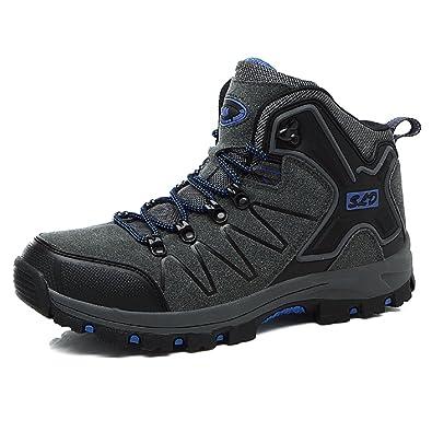 Sixspace Herren Damen Trekking Wanderschuhe Outdoor Sneakers Wasserdicht Gleitsicher mit Perfekter Dämpfung Dicker, Grau 39 EU