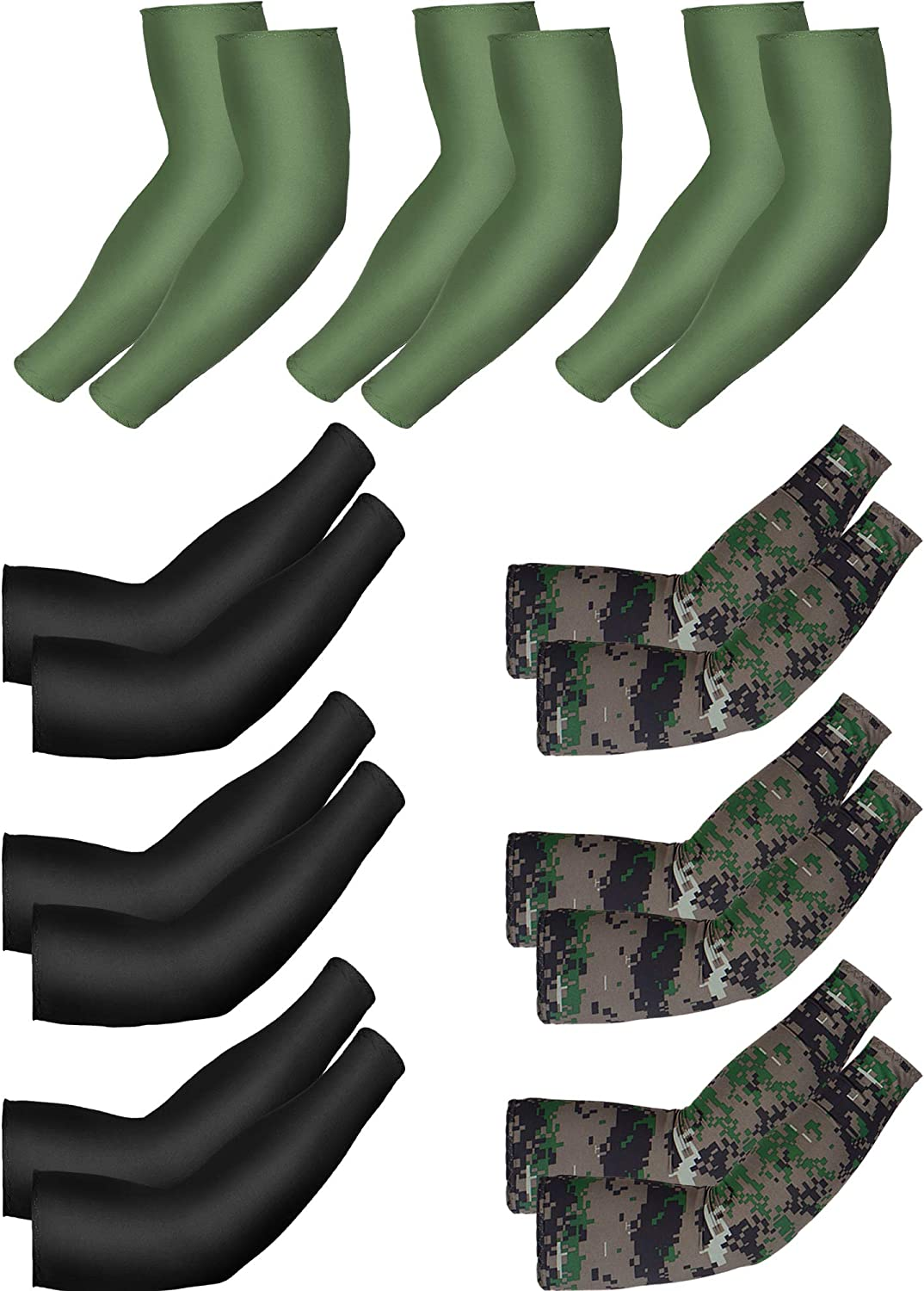 9 Pairs Unisex UV Protection Sleeves Long Arm Sleeves Cooling Sleeves Ice Silk Arm Covers