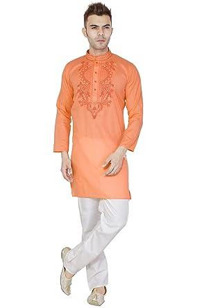 2875e618e3 Amazon.com  Indian Kurta Pajama Set for Men Cotton Long Sleeve Kurta Pyjama  Wedding Party Dress  Clothing