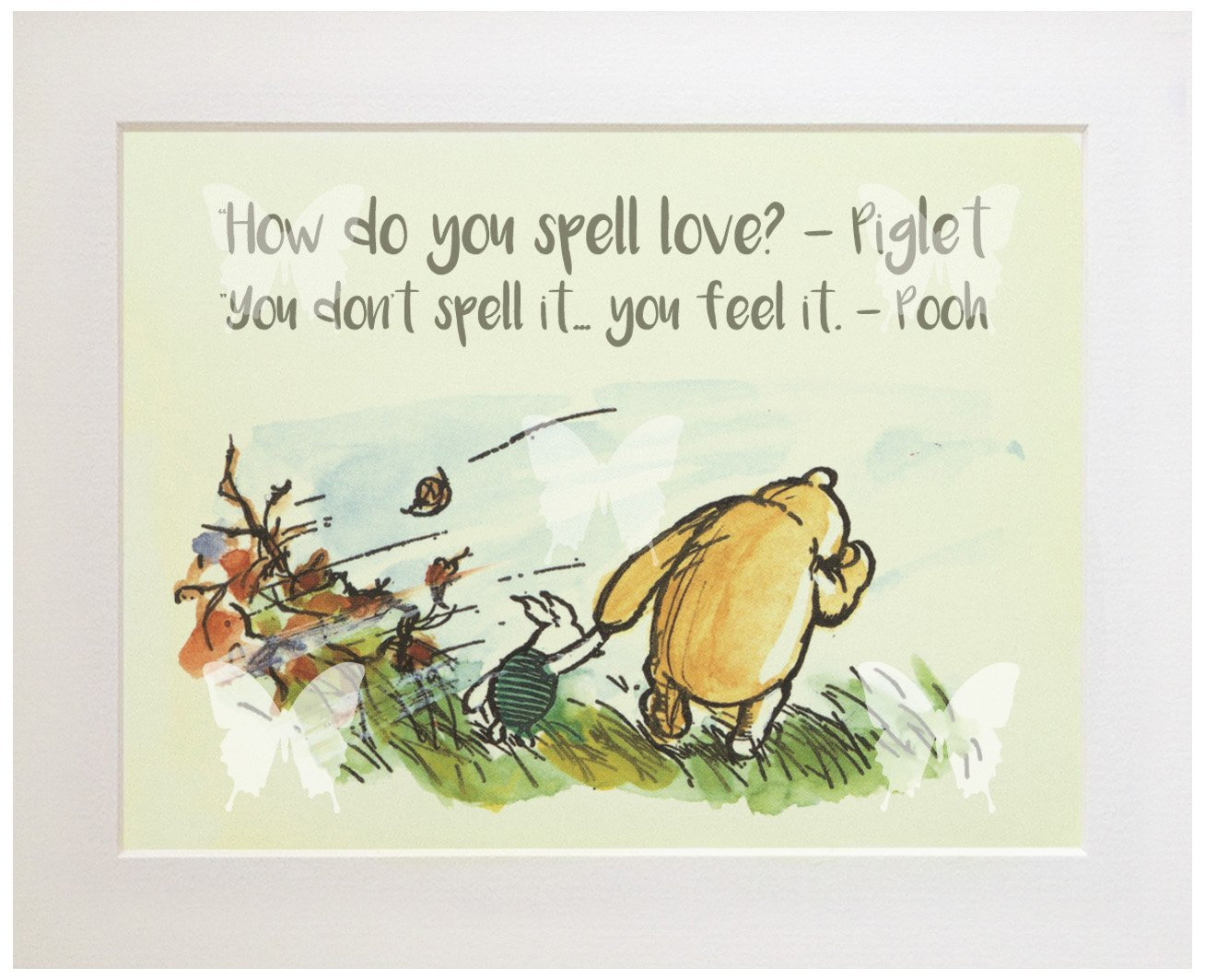 CLASSIC WINNIE THE POOH QUOTE PRINT (UNFRAMED), New Baby/Birth, Baby Shower, Christening, Nursery Picture Gift, How do you spell love? The Blue Butterfly Emporium