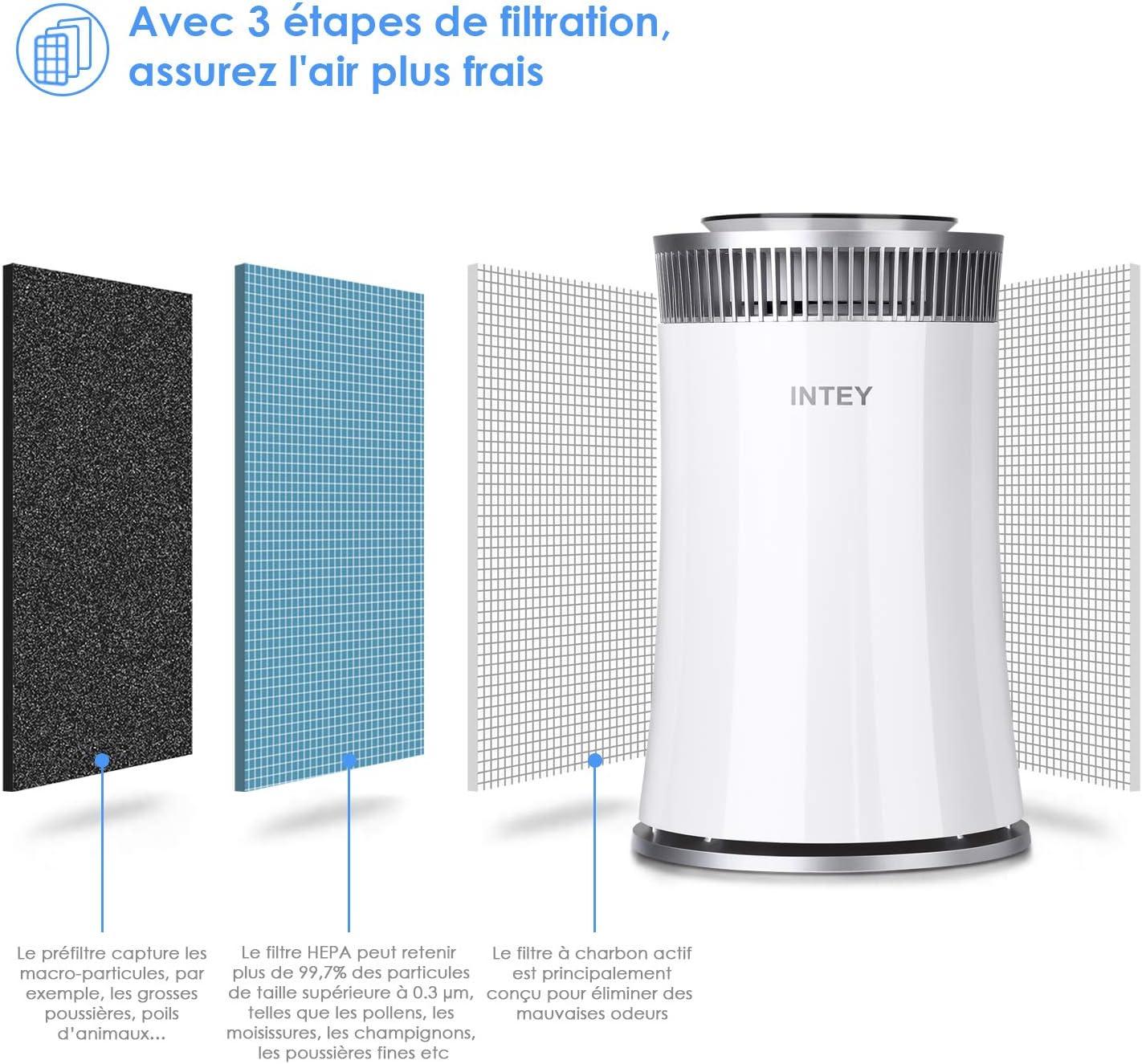 INTEY Purificador de Aire con Filtro HEPA - Tríple Filtración, Carbón Activo, 5 Velocidades, Temporizador Ajustable, Elimina el 99.7% del Formaldehido, Microbio, Alérgeno: Amazon.es: Hogar