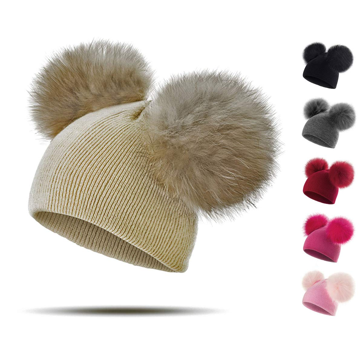 f8857cfb1e8 Peng Sheng Children Baby Hat Baby Kids Toddler Warm Winter Wool Hat Beanie  Fur Pom Pom Hat Baby Boys Girls 1-3Y  Amazon.co.uk  Clothing