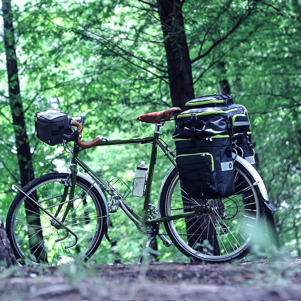 PELLOR 70L Sacoche V/élo Sac Porte Bagage Arri/ère /à Trois Compartiments de Cyclisme Nylon Poche Assemblage avec Couverture Imperm/éable VTT Outdoor Voyage Sport