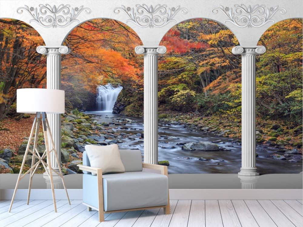 Personalizado cualquier tamaño columna romana columnata cascada corriente paisaje fondo 3D etiqueta de la pared decoración para el hogar Wallpaper Mural: Amazon.es: Bricolaje y herramientas