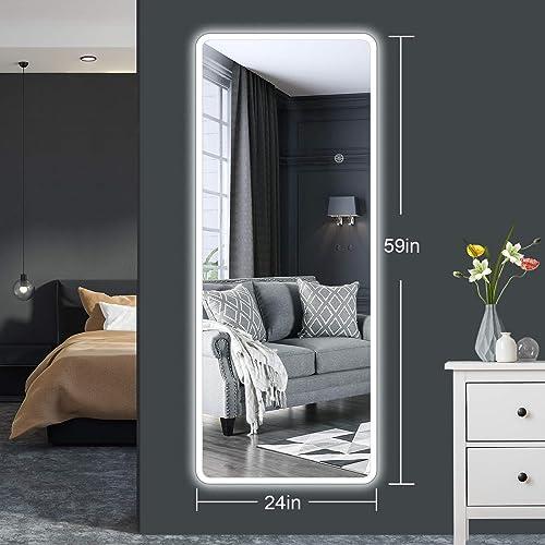 VIIYSEAM 59″x24″ Wall Mounted LED Vanity Backlit Mirror,Oversized Full Length Dressing Mirror