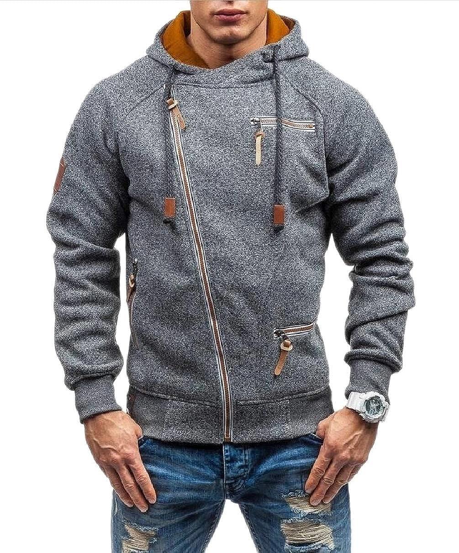Xswsy XG-CA Men Casual Oblique Zipper Hoodie Casual Top Coat Slim Fit Jacket