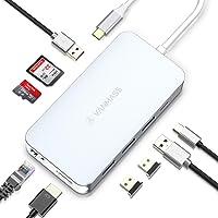 VANMASS USB C Hub 9 in 1 mit 4 VR Chips 90W PD Anchluss Aluminium USB C Adapter mit 4K HDMI Anschluss 4 x USB 3.0 Port SD/TF Leser QC Port Ethernet für MacBook Sumsung Chromebook und mehr Type-C Gerät