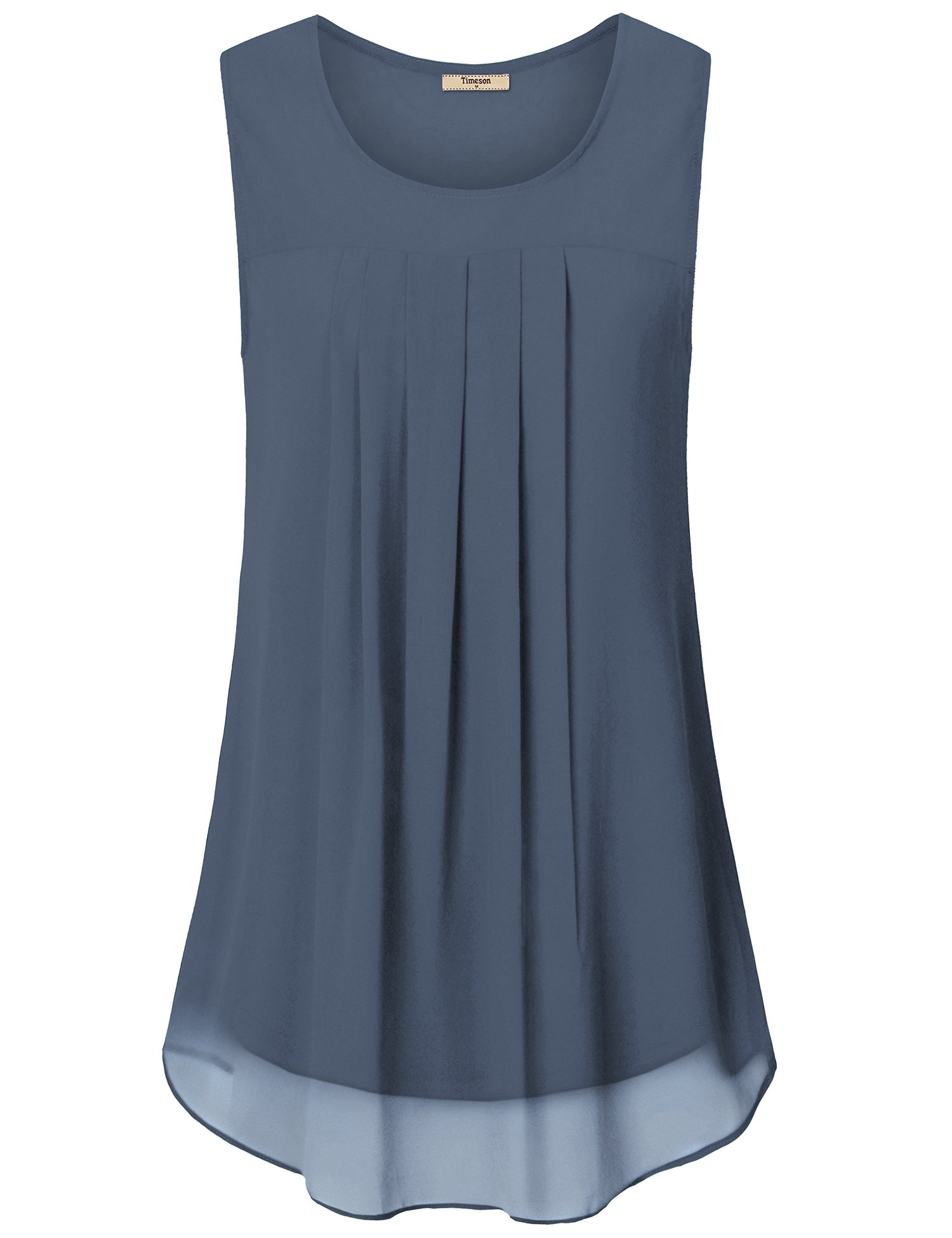 Timeson Women Tops for Work Office, Ladies Sleeveless Casual Tunis Shirts Gray Summer Chiffon Tank Tops Swing Comfy A Line Sleeveless Business Work Blouses for Leggings Blue Gray X-Large