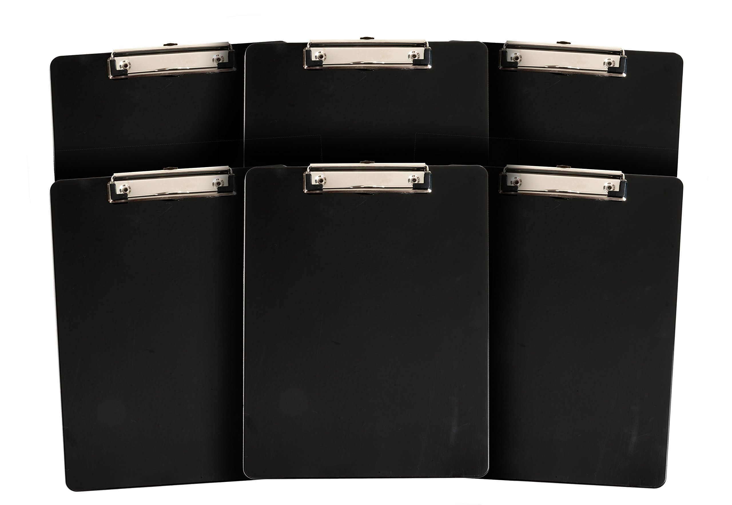6 Pack Black Plastic Clipboard, Low Profile Clip, Clipboards for classrooms, offices, restaurants, doctor offices, 6 Plastic Clipboard Pack