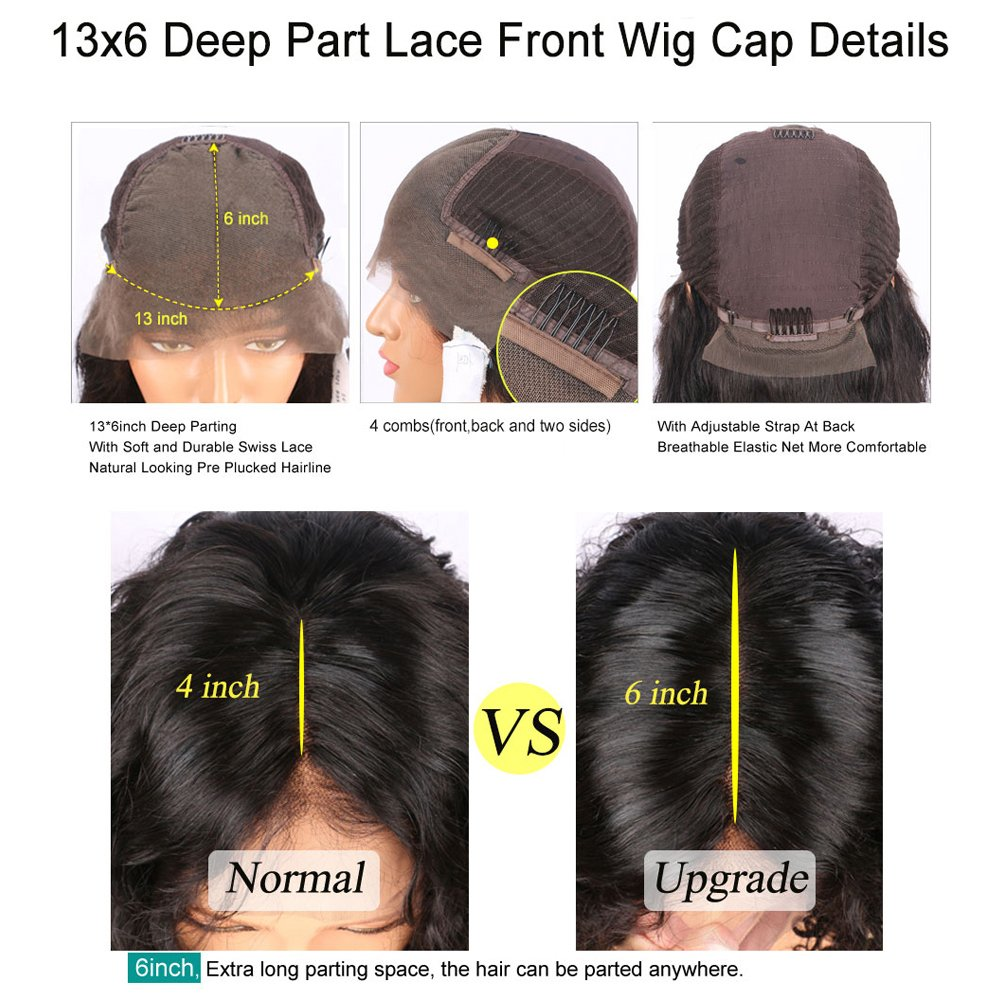 Straight 13x6 Lace Front Human Hair Wigs With Baby Hair For Black Women Deep Parting Remy Hair Glueless Lace Front Wig Pre Plucked Hibaby Hair With 16 inch (183g)