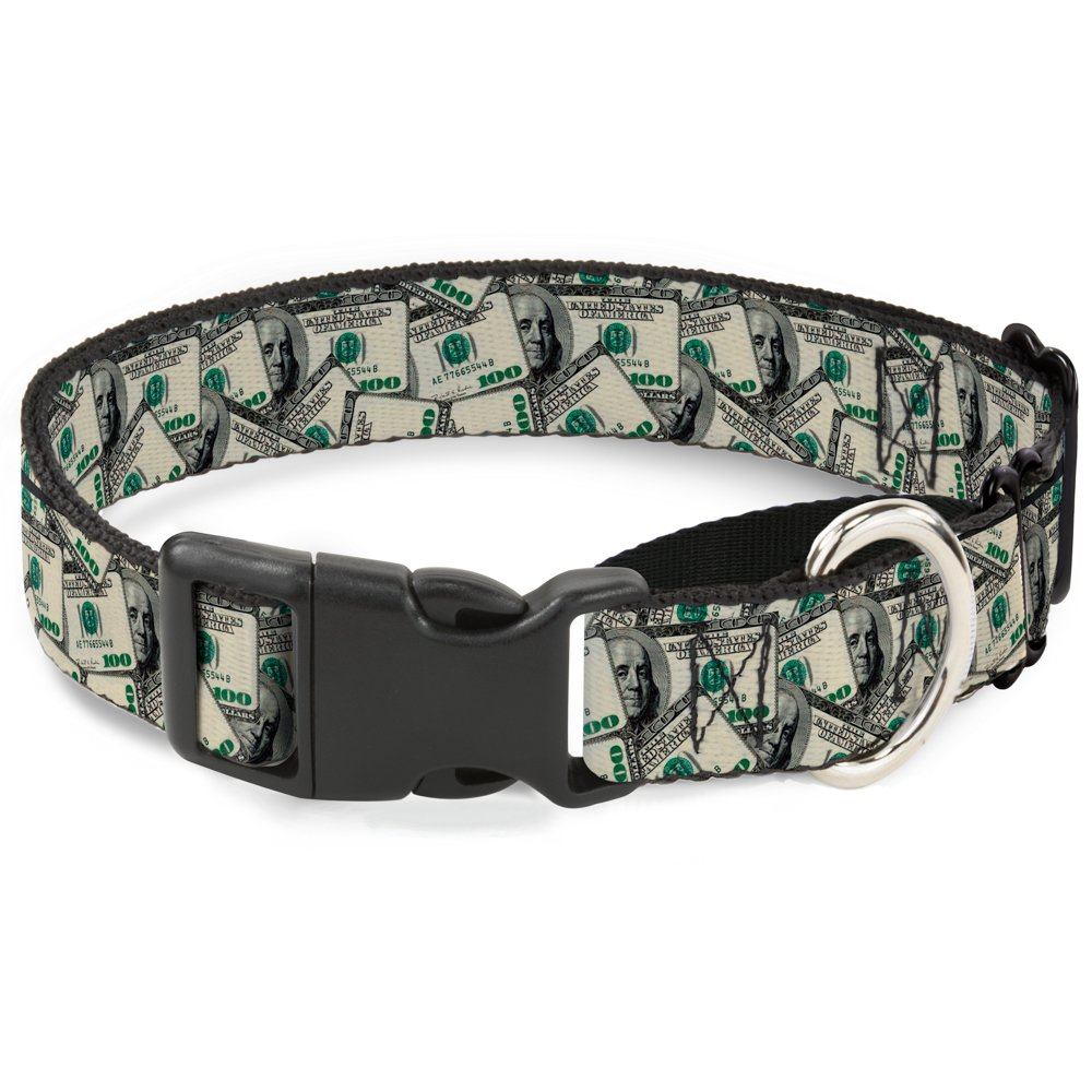 Buckle-Down Benjamins Martingale Dog Collar, 1.5  Wide-Fits 13-18  Neck-Small
